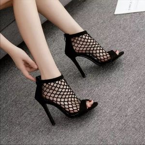 Shoes - Sexy Hollow Out Black Peep Toe Bootie